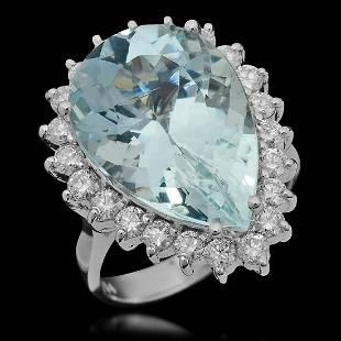 14K White Gold 11.12ct Aquamarine and 1.21ct Diamond