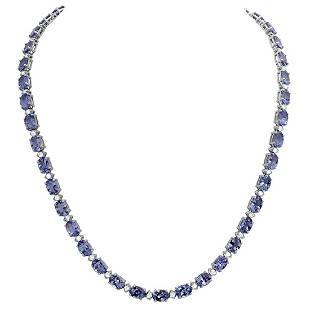 14k White Gold 35.89ct Tanzanite 1.73ct Diamond