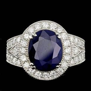 14K White Gold 6.62ct Sapphire and 1.61ct Diamond Ring