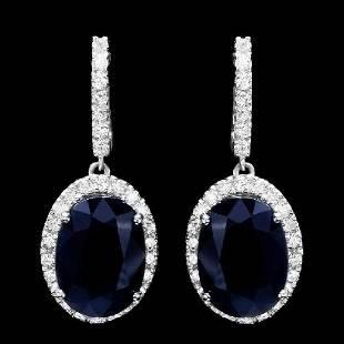14K White Gold 14.12ct Sapphire and 1.74ct Diamond