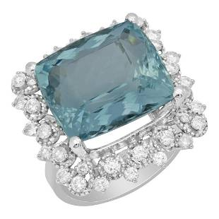 14k White Gold 12.51ct Aquamarine 0.98ct Diamond Ring