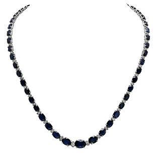 14k White Gold 34.60ct Sapphire 1.78ct Diamond Necklace