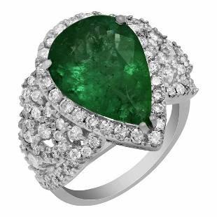 14k White Gold 4.39ct Emerald 1.21ct Diamond Ring