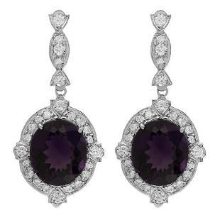 14k White Gold 16.53ct Amethyst 1.83ct Diamond Earrings