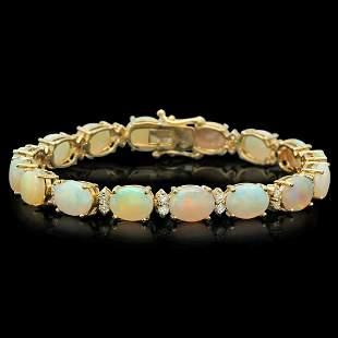 14K Gold 17.12ct Opal 1.47ct Diamond Bracelet