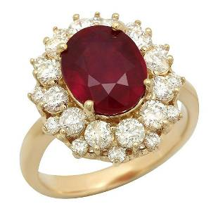14K Yellow Gold 5.13ct Ruby and 1.50ct Diamond Ring