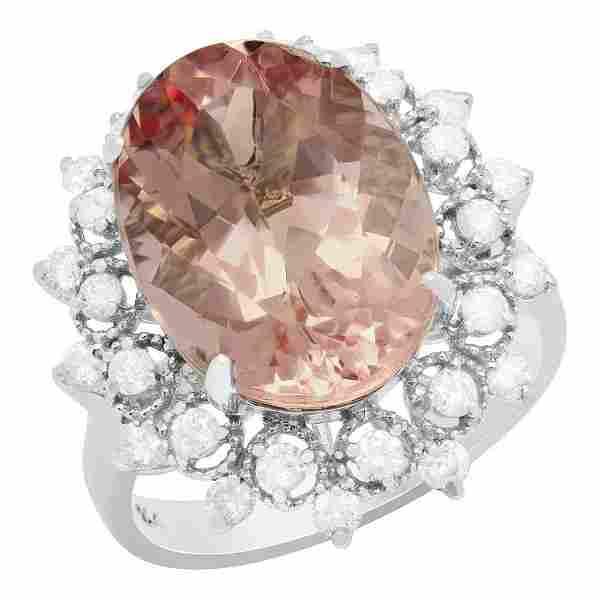 k White Gold 8.22ct Morganite 0.75ct Diamond Ring