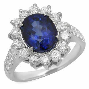 14K White Gold 2.69ct Sapphire and 1.13ct Diamond Ring