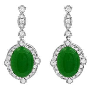 14k White Gold 12.89ct Jade 1.73ct Diamond Earrings