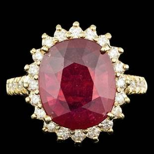 14K Yellow Gold 6.21ct Ruby and 0.88ct Diamond Ring