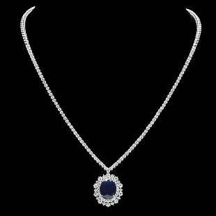 18K White Gold 5.82ct Sapphire and 4.96ct Diamond