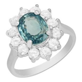 14k White Gold 2.90ct Blue Zircon 0.96ct Diamond Ring