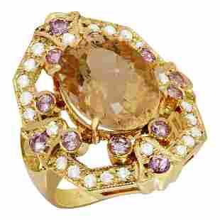 14k Rose Gold 7.27ct Morganite 0.75ct Pink Sapphire
