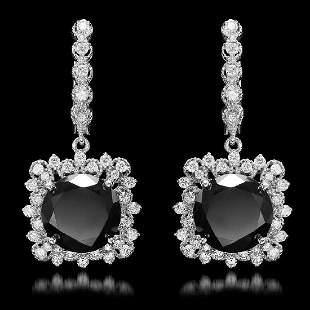 14K White Gold 11.88ct Fancy Black Diamond and 1.66ct