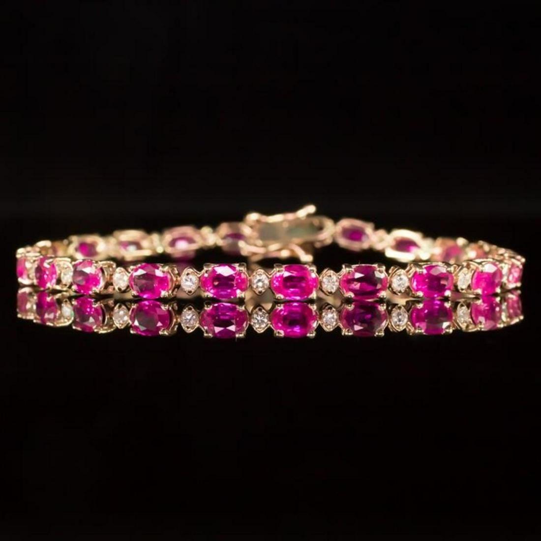 14K Rose Gold 9.88ct Pink Sapphire 0.76ct Diamond