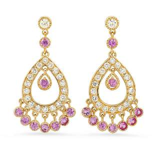 14K Yellow Gold 2.50ct Pink Sapphire and 2.05ct Diamond