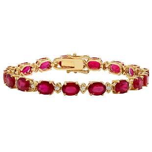 14k Rose Gold 27.99ct Ruby 0.58ct Diamond Bracelet