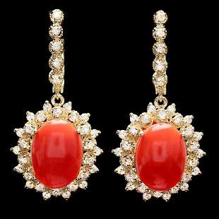 14K Yellow Gold 10.35ct Coral and 1.90ct Diamond