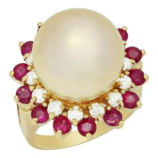14k Yellow Gold 14mm Pearl 1.42ct Ruby 0.68ct Diamond