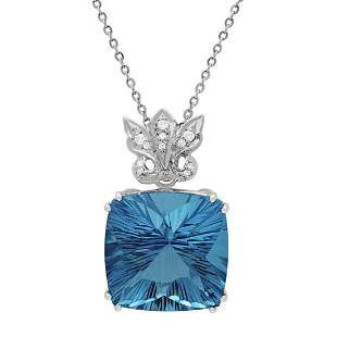 14k White Gold 49.15ct Blue Topaz 0.19ct Diamond