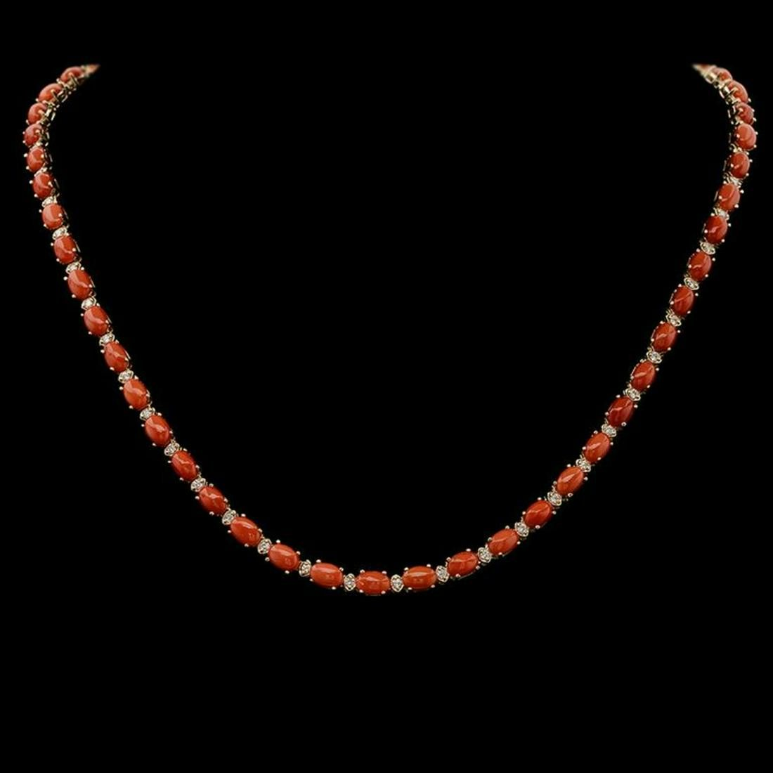 14K Gold 18.49ct Coral 1.17ct Diamond Necklace