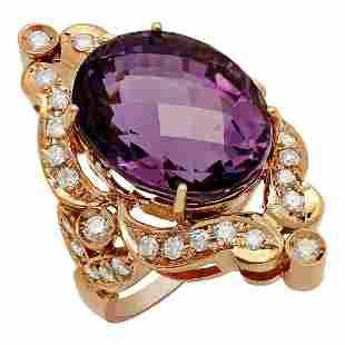 14k Rose Gold 17.84ct Amethyst 1.12ct Diamond Ring