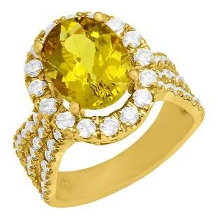 14k Yellow Gold 3.70 Yellow Beryl 1.57ct Diamond Ring