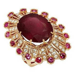 14k Rose Gold 17.36ct & 1.60ct Ruby 1.09ct Diamond Ring