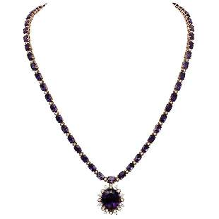14k Rose Gold 31.14ct Amethyst 2.47ct Diamond Necklace