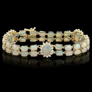 14K Gold 12.13ct Opal 1.39ct Diamond Bracelet