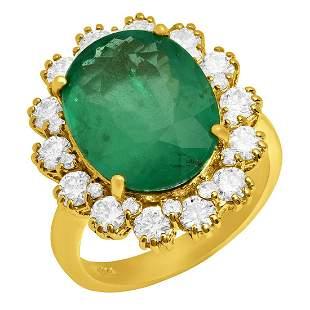 14k Yellow Gold 6.84ct Emerald 1.43ct Diamond Ring