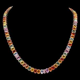 14K Yellow Gold 57.98ct Fancy Color Sapphire Necklace