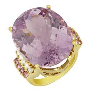 14k Yellow Gold 40.01ct Kunzite 0.34ct Pink Sapphire