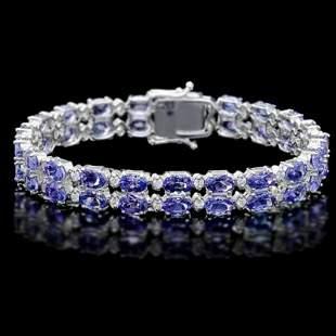 14K Gold 20.20ct Tanzanite 1.34ct Diamond Bracelet