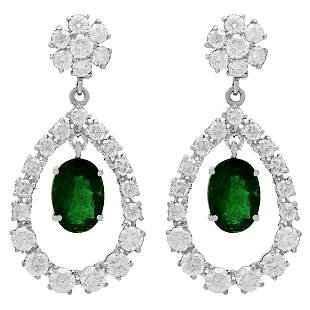 14k White Gold 5.91ct Emerald 7.10ct Diamond Earrings