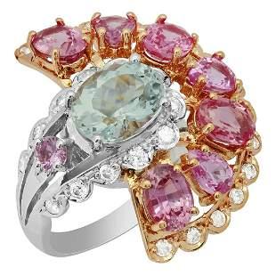 14k White & Rose Gold 2.45ct Aquamarine 5.59ct Pink