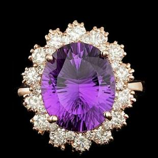 14K Rose Gold 5.42ct Amethyst and 1.57ct Diamond Ring