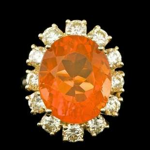 14K Yellow Gold 7.91ct Fire Opal and 2.41ct Diamond