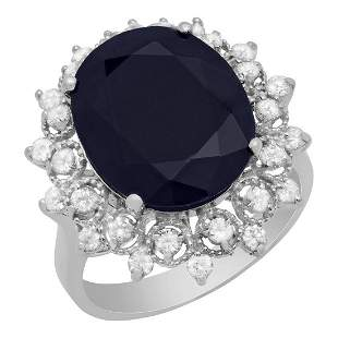 14K Gold 10.63ct Sapphire and 0.73ct Diamond Ring