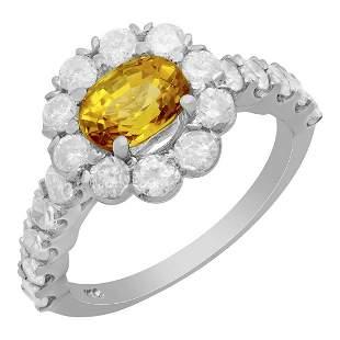 14k White Gold 1.43ct Yellow Sapphire 1.56ct Diamond