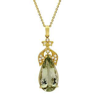 14k Yellow Gold 23.10ct Green Quartz 0.42ct Diamond