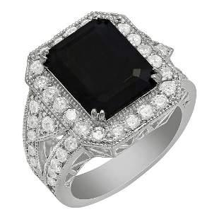14k White Gold 6.22ct Sapphire 1.68ct Diamond Ring