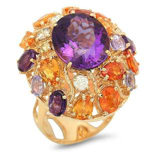 14K Yellow Gold 8.64ct Amethyst 7.42ct Sapphire and