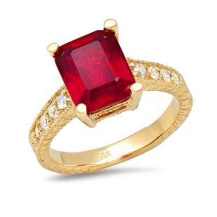 14K Yellow Gold 4.50ct Ruby and 0.30ct Diamond Ring