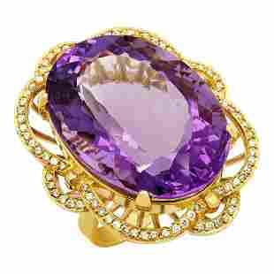 14k Yellow Gold 52.16ct Amethyst 1.09ct Diamond Ring
