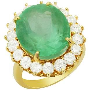 14k Yellow Gold 13.92ct Emerald 2.52ct Diamond Ring