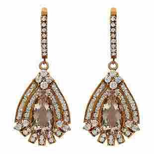14k Rose Gold 6.75ct Morganite 3.14ct Diamond Earrings
