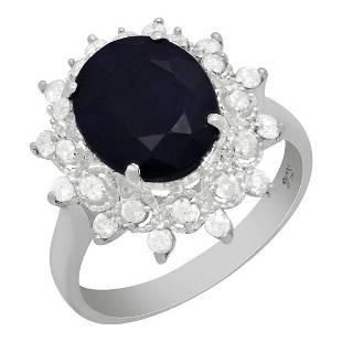 4k White Gold 4.37ct Sapphire 0.51ct Diamond Ring