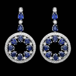 14K Gold 16.08ct Sapphire 3.44ct Diamond Earrings