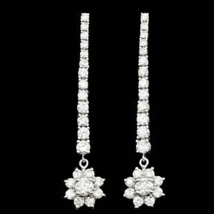 14k White Gold 3.90ct Diamond Earrings